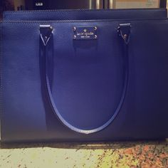 Kate Spade Wellesley Emperorble Blue Purse Large Authentic from the Kate Spade store! Can fit a normal sized laptop and then some. Lots of room with sturdy straps. Structured bag. Never been used. This is a solid work bag for the office, everyday bag or travel!  kate spade Bags Shoulder Bags