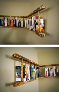 alte holzleiter wandregal selber machen make old wooden ladder wall shelf yourself Pin: 600 x 901 Old Wooden Ladders, Ladder Bookshelf, Bookshelf Ideas, Bookshelf Design, Shelving Ideas, Creative Bookshelves, Storage Ideas, Ladder Shelf Diy, Old Ladder Decor