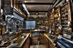 """Small assembly area off the woodshop w/ 3 heights of benches 32"""" + 42"""" + 48"""""""