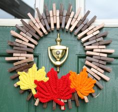 Fall Wreath Fall Wreaths, Nature Home Decor, Crocheted Wreath, Maple Leaves, Autumn Color Decoration, Clothespin Wreath - pinned by pin4etsy.com
