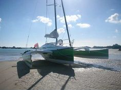 Dragonfly 28 trimaran beached in Jersey, Channel Islands