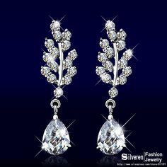 partito charme cubic zirconia gioielli con diamanti orecchini foglia di modo rhodium placcato donne orecchini da sposa ( silveren SE1315 )
