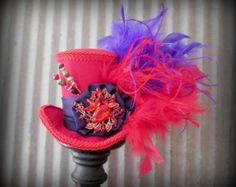 Red and Purple hat, Red Hat Society hat, Alice in Wonderland, Mad Hatter Hat, Steampunk,Tea Party Hat, Mad Tea Party, Red Kentucky Derby Hat
