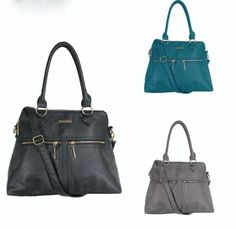 RAMPAGE Handbag Ladies Large Satchel with Zipper Accent and Front Pockets RP1262offered in Black, Gray and Teal and finishes with zipper accent pockets in the front. Spacious and pocket-lined.The bag comes in original Rampage tags  and packaging.