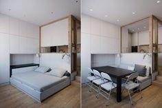 Helytakarékos, praktikus megoldások, multifunkciós bútorok egy diák kis lakásában - 25m2