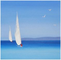 5 Popular Types of Sailboats and Why They're Loved – Voyage Afield Sailboat Painting, Sea Art, Beach Scenes, Art Techniques, Art Pictures, Watercolor Paintings, Abstract Art, Landscape, Illustration