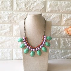 Mint necklace Nwt retail Lovely mix of mint, lavender, coral and shiny rhinestones :) Hwl boutique Jewelry Necklaces