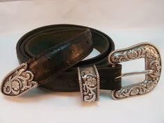 Mexican Ostrich Leather Belt  Black Western Old Sonora Mexico Size 44 #Unmarked