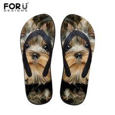 FORUDESIGNS 2017 Fashion Summer Beach Flip Flops Women Slippers Cute 3D Pet Cat Dog Terrier Printed Sandals Lady Flats Shoes