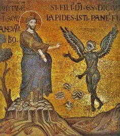 The Temptation of Christ / La Tentación de Cristo // 12th century // Basilica of Monreale, Italy // #Jesus