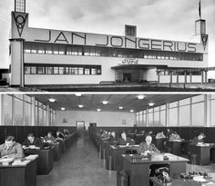 Exterieur en interieur van het kantoor in 1937 (collectie Villa Jongerius)