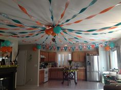 Indoor tailgating theme party (Miami dolphins based)
