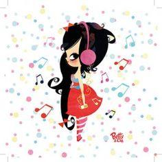 """CARTE simple """"Mes petites notes"""" - Betty  Cie par Lilidoll - 14 x 14 cm"""