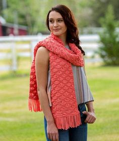 The Wavy Drop Stitch Scarf is truly in a league of its own. Using this interesting drop stitch pattern gives you a wonderful look and feel with a jersey-knit tubular yarn. The end result is an impressive knit scarf that's really easy and quick to kn
