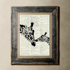 Giraffe - Printed on a Vintage Dictionary Page 8X10. via Etsy.