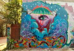 Street art in Hanoi, Vietnam, by Vietnamese artist Liar Ben and French artist Sautel Cago.