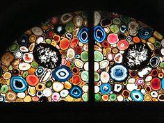 sliced agate windows in Grossmunster Church, Zurich, Switzerland