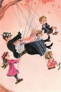 """Mary Poppins opens the door"" for Houghton Mifflin Harcourt -Genevieve Godbout Disney Kunst, Disney Films, Disney Fan Art, Disney Love, Disney Magic, Disney Pixar, Mary Poppins, Images Disney, Houghton Mifflin Harcourt"
