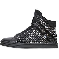 HOGAN REBEL Sequined Leather High Top Sneakers ($425) ❤ liked on Polyvore