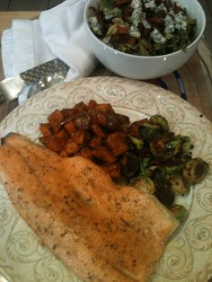 Rainbow Trout, oven roasted brussel's sprouts, diced sweet potatoes ...
