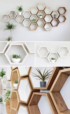 ikea raf dekorasyon 25 DIY ideas for cheap and home decor 2019 cheap ideas cheap projects cheap diy ikea shelves rustic shelves woodworking projects The post 25 DIY ideas for cheap and home decor 2019 appeared first on Woodworking ideas. Oak Wall Shelves, Ikea Shelves, Rustic Shelves, Hexagon Wall Shelf, Honeycomb Shelves, Diy Bedroom Decor, Diy Home Decor, Regal Design, Rustic White
