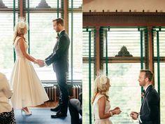 That dress though. Indoor wedding ceremonies // via ruffledblog.com