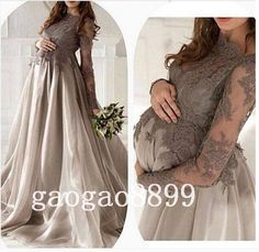 New Arrival Gray Silver Lace Organza Long Sleeve Evening Dresses Maternity For Pregnant Women Custom Make Elegant Dubai Arabic Dresses Prom Online with $122.52/Piece on Gaogao8899's Store | DHgate.com