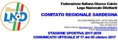 SCRIVOQUANDOVOGLIO: CALCIOSARDO:COMUNICATO UFFICIALE NUMERO 17 FIGC SA...