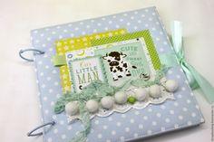 Купить Альбом - дневник для мамы малыша - бирюзовый, в горошек, скрапбукинг купить, скрапбукинг альбом