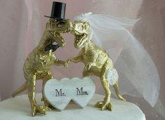 Dinosaur Wedding Cake Topper GOLD Dinosaur by MrandMrsCakeToppers
