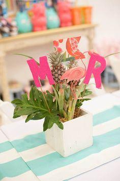 Love the pineapple centerpiece! Tropical Flamingo themed birthday party via Kara's Party Ideas  #shareacokecontest
