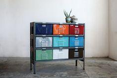3 x 3 Vintage Locker Basket Unit, Marlow Edition, Multi-Color