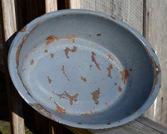 Gray Enameled Graniteware Wash Pan/Bowl Gray Metal Pan by WVpickin