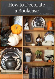 How to decorate a bookcase - get my fool proof step by step guide.  Learn the 5 elements of a great bookcase display that you can use over & over any place & any season.