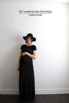DIY maternity tee shirt dress. Instructions here.