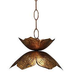 "Jamie Young Flowering Lotus 10 1/2"" Wide Gold Pendant"