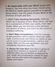 4 agreements Words to live by