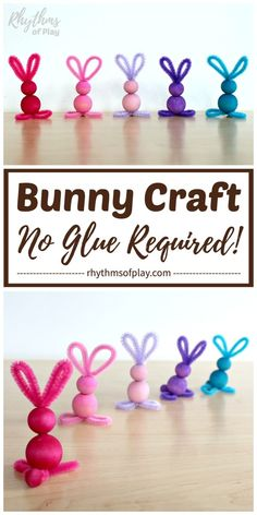 Easy Bunny Crafts for Kids and adults. Pipe cleaner crafts, like this easy bunny craft made with chenille stems and wooden beads, are simple crafts for preschoolers and kids of all ages--no glue required! Make bunnies for Easter with your children at home, or in the classroom. | #KidsCraft #EasterCraft #EasterDecor