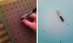 using peg board to make tufted headboard. WHY didn't I think of that???