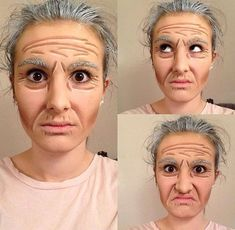Proscenium stage old age makeup . - Proscenium stage old age makeup . Costume Halloween, Old Man Costume, Halloween Face Makeup, Old People Costume, Grey Hair For Halloween, Zombie Makeup, Old Man Makeup, Grandma Costume, Maquillaje Halloween
