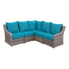 Cherry Hill 5pc Resin Wicker Sectional with Sunbrella Fabric Spectrum Peacock - AE Outdoor, Blue