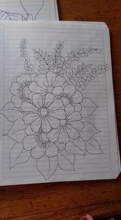 Beautiful Flower Drawings, Pencil Drawings Of Flowers, Flower Art Drawing, Wreath Drawing, Colorful Drawings, Easy Drawings, Hand Embroidery Design Patterns, Flower Embroidery Designs, Hand Embroidery Stitches