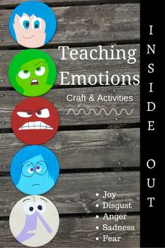 Disney Pixar Inside Out inspired Teaching Emotions craft Activities. LOVE the idea with the paint chips and words to visual for kids who need help describing how they feel. Perfect aspergers / autism tool and social skills group idea.