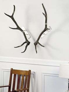 Antler Wall Mount Elk Black Wire Wrapped Phylum Design