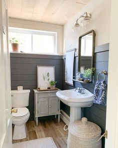 One time for the guest bathrooms! You wouldn't believe the transformation this gorgeous downstairs bathroom. Painting Shiplap, Painting Trim, Guest Bathrooms, Downstairs Bathroom, Bathroom Ideas, British Colonial Decor, Sunroom Decorating, Decorating Ideas, Shiplap Bathroom
