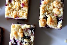 BLUEBERRY CRUMB BARS w/ real fresh berries. Very Good.  Use processor, 2 pts berries = 4c, 9x13 glass pan, lower heat to 350 & bake for the minimum time.  Watch salt.   kc