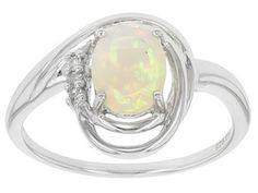 Ethiopian Opal, Chalama Black Opal (Tm), White Topaz, 1.20ctw Sterling Silver Ring