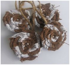 Set of Four Hemp and Lace Flower Ornaments Home by Hugatreewithme