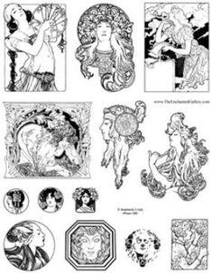 art nouveau drawings - Αναζήτηση Google