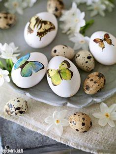 Munien koristelu – 3 hauskaa ideaa! Somista pääsiäismunat vaihteeksi washi-teipillä, leikkitatuoinneilla tai kuviollisilla lautasliinoilla.